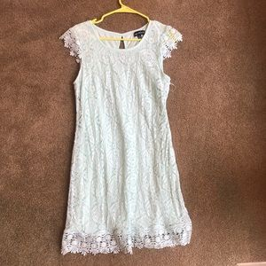 Sequin hearts teal lace dress